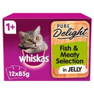 Whiskas 1+ Pure Delight Fish & Meaty Selection Wet Adult Cat Food Pouches