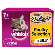 Whiskas 7+ Pure Delight Poultry Wet Adult Cat Food Pouches 85g x 12