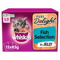 Whiskas 2-12 months Kitten Pure Delight Fish Selection Wet Cat Food Pouches 85g x 12