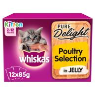 Whiskas 2-12 months Kitten Pure Delight Poultry Selection Wet Cat Food Pouches