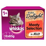 Whiskas 1+ Pure Delight Meaty Selection Wet Adult Cat Food Pouches 85g x 12