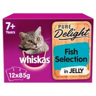 Whiskas 7+ Senior Pure Delight Fish Selection Wet Adult Cat Food Pouches  85g x 12