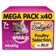 Whiskas 7+ Pure Delight Poultry Selection Wet Cat Food Pouches
