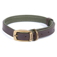 Barbour Padded Leather Dog Collar in Brown & Olive