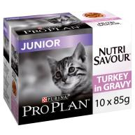 PRO PLAN NUTRISAVOUR Turkey in Gravy Junior Kitten Pouches 85g x 10