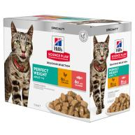 Hills Science Plan Perfect Weight Feline Adult Pouches 85g x 12