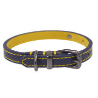 Joules Navy Leather Dog Collar  Small