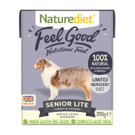 Naturediet Feel Good Senior Lite Wet Adult Dog Food Cartons 390g x 72 Feel Good