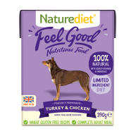 Naturediet Feel Good Turkey & Chicken Wet Adult Dog Food Cartons 390g x 72 Feel Good