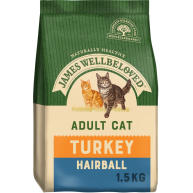 James Wellbeloved Hairball Turkey Adult Cat Food 1.5kg