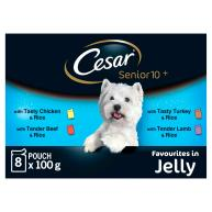 Cesar Pouch Senior 10+ Favourites in Jelly Adult Dog Food 100g x 8