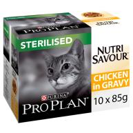 PRO PLAN NUTRISAVOUR Chicken in Gravy Sterilised Adult Cat 85g x 10