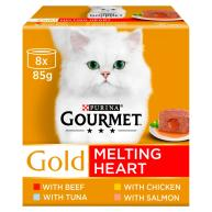 Gourmet Gold Melting Heart Meat & Fish Multipack Adult Cat Food 85g x 8
