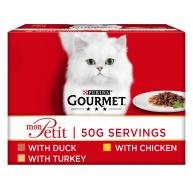 Gourmet Mon Petit Poultry Pouches Adult Cat Food 50g x 48