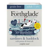 Forthglade Birthday Edition Complete Grain Free Sardine Haddock Potato & Broccoli Wet Adult Dog Food 395g x 7