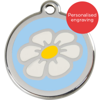 Red Dingo Dog ID Tag Stainless Steel & Enamel Daisy