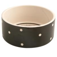 Mason Cash Black Polka Dot Ceramic Dog & Cat Bowl