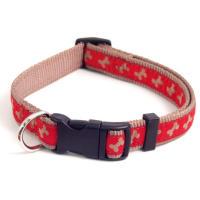 Rosewood Wag n Walk Paw Print Red & Beige Dog Collar