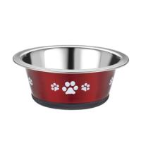 Classic Posh Paws Stainless Steel Red Cat Dish