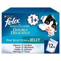 Felix As Good As It Looks 1+ Doubly Delicious Fish Selection in Jelly Cat Food