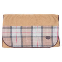 Barbour Wool Touch Blanket in Taupe & Pink Tartan