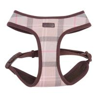 Barbour Dog Harness in Taupe & Pink Tartan