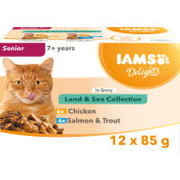 IAMS Delights Chicken in Gravy Senior Selection Cat Food Pouches