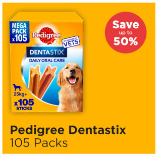 Dentastix 105 stick packs save up to 50%