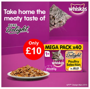 Whiskas Pure Delight Cat Food Pouches Only £10