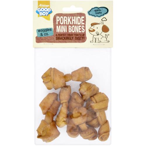 Good Boy Mini Porkhide Bones Puppy Dog Chews
