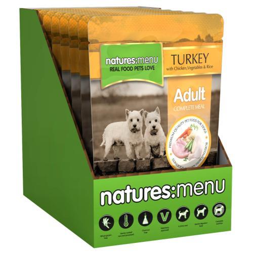 Natures Menu Turkey & Chicken Adult Dog Food Pouches
