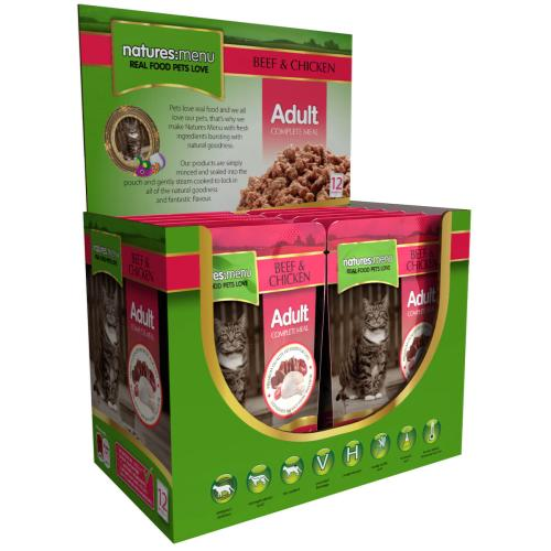 Natures Menu Beef & Chicken Adult Cat Food Pouches