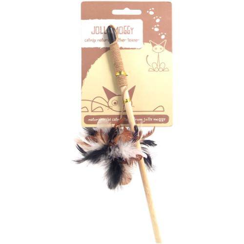 Rosewood Jolly Moggy Catnip Natural Feather Teaser Cat Toy