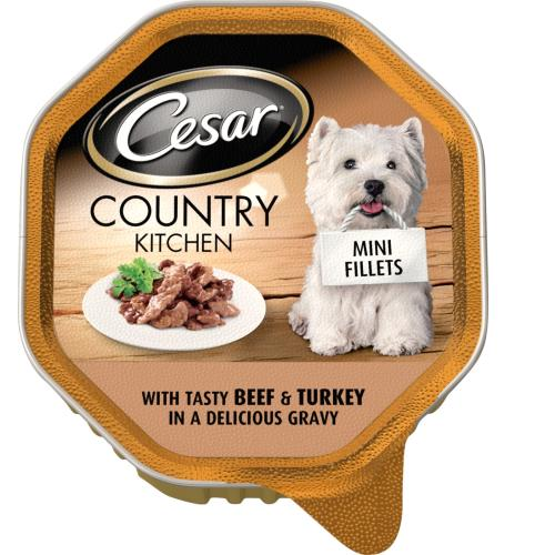 Cesar Tray Country Kitchen Mini Fillets Beef & Turkey in Gravy Adult Dog Food