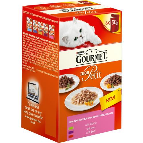 Gourmet Mon Petit Meat Selection Pouches Adult Cat Food