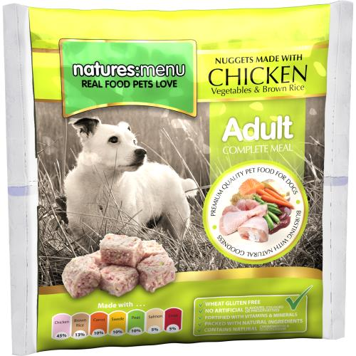 Natures Menu Complete Chicken Nuggets Raw Frozen Dog Food