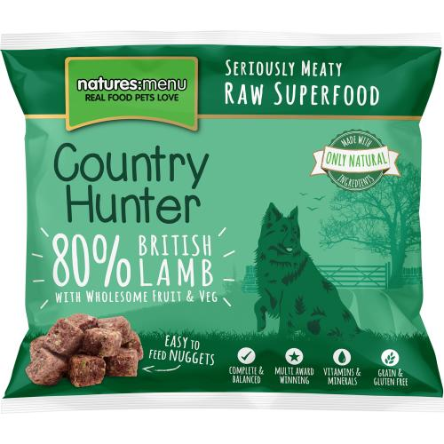 Natures Menu Country Hunter Complete Lamb Nuggets Raw Frozen Dog Food