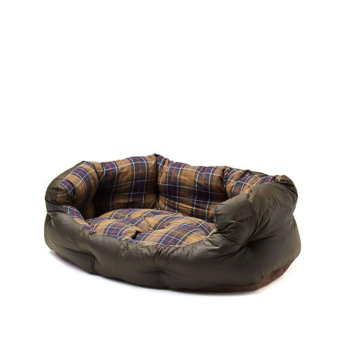 Barbour Wax Cotton Dog Bed in Classic Olive