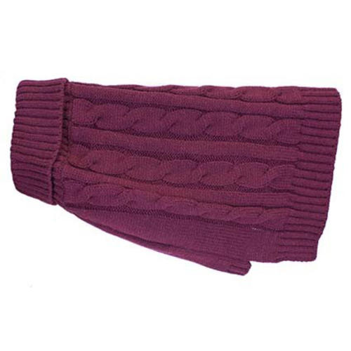 Buster & Beau Charlton Cable Knit Deep Berry Dog Jumper
