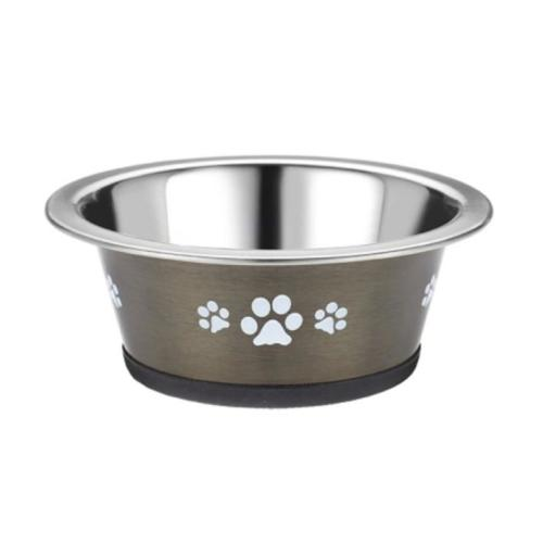 Classic Posh Paws Stainless Steel Grey Cat Dish