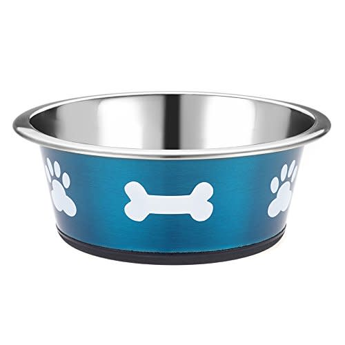 Classic Posh Paws Stainless Steel Blue Dog Bowl