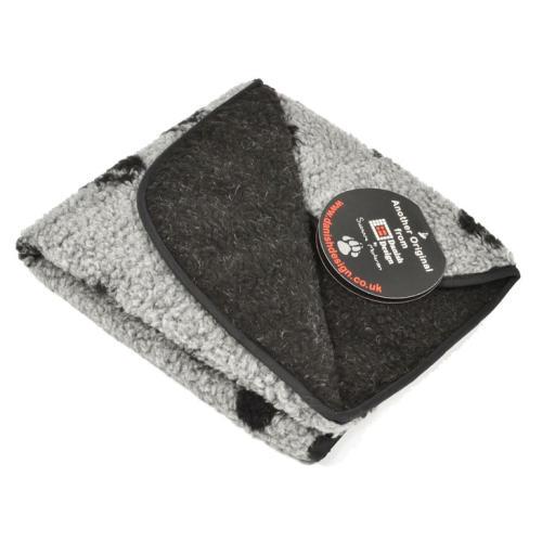 Danish Design Fleecy Paw Print Grey Dog Blanket