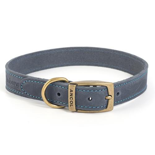 Ancol Timberwolf Blue Leather Dog Collar