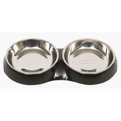 Catit Shallow Double Feeding Cat Bowl in Black