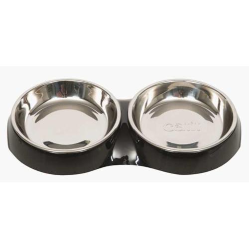 Catit Shallow Double Feeding Cat Bowl in Black