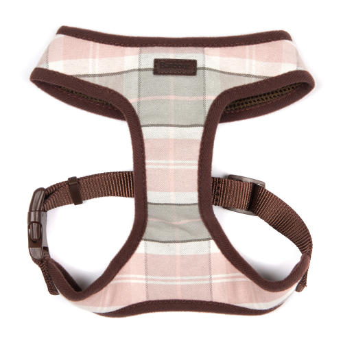 Barbour Dog Harness in Pink & Grey Tartan