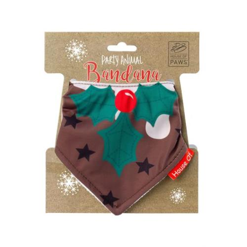 House of Paws Christmas Pudding Bandana for Dogs