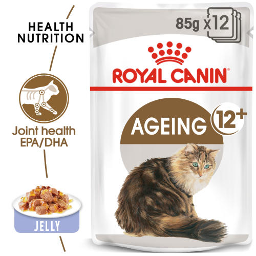 Royal Canin Ageing 12+ Adult Senior In Jelly Wet Cat Food Pouches
