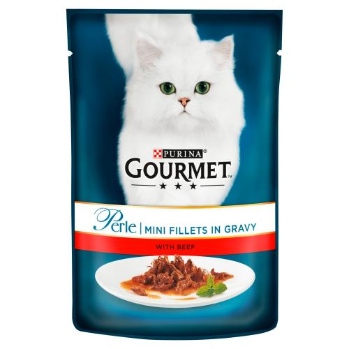 Gourmet Perle Mini Beef fillets in Gravy Cat Food