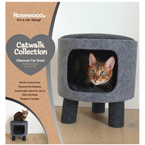 Rosewood Charcoal Felt Cat Stool